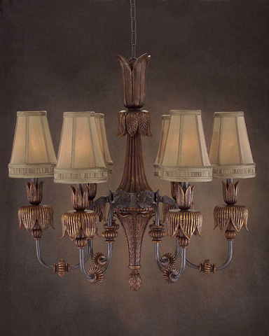 John Richard Collection - Six Light Hand Carved Wood Chandelier - AJC-8502