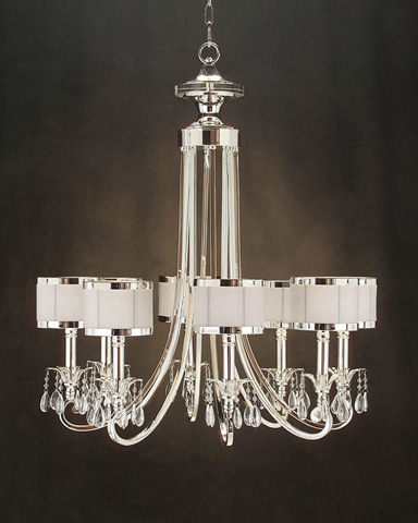 John Richard Collection - Eight Light Silver and Glass Accent Chandelier - AJC-8512