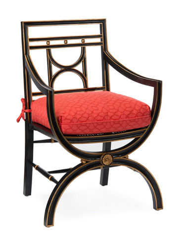 John Richard Collection - Cane Seat Arm Chair with Cushion - AMF-1006V12-C391-AS