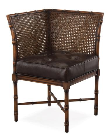 John Richard Collection - Dark Brown Leather Corner Chair - AMF-1253V20-DKBN-AS