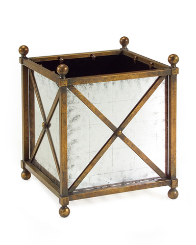 Image of Square Mirrored Metal Jardiniere