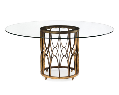 John Richard Collection - Brass Dining Table with Glass Top - EUR-10-0052