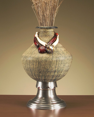 John Richard Collection - Metal Vase with Tassels - JRA-6359