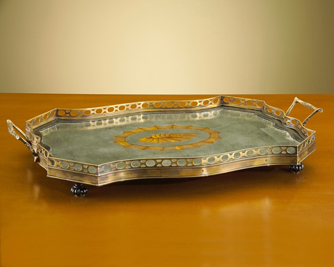 John Richard Collection - Eglomise Tray with Brass Rail - JRA-6672