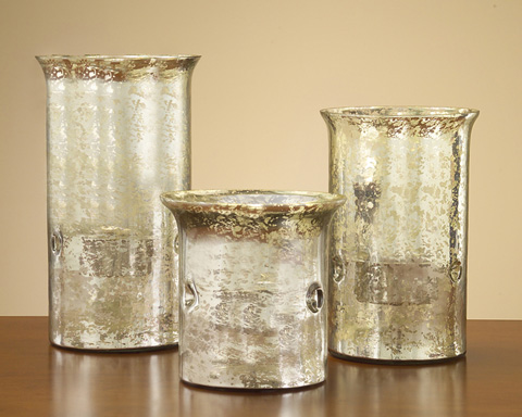John Richard Collection - Over Scale Mercury Glass Candle Holders - JRA-7803S3