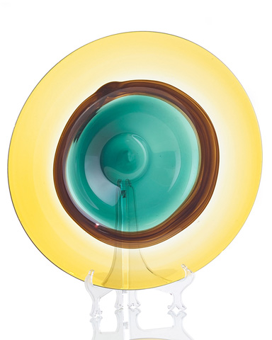 John Richard Collection - Green and Yellow Glass Bowl - JRA-8348