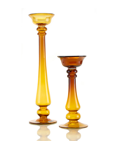 John Richard Collection - Amber Glass Candlestick - JRA-8373