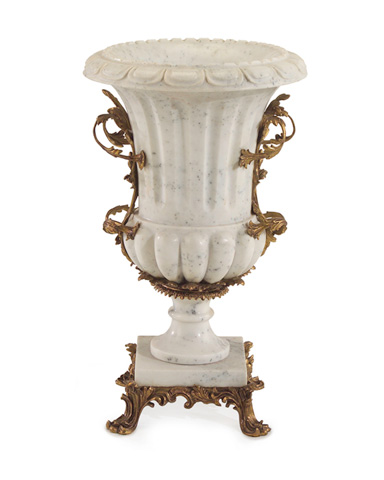 John Richard Collection - White Marble and Brass Urn - JRA-8636