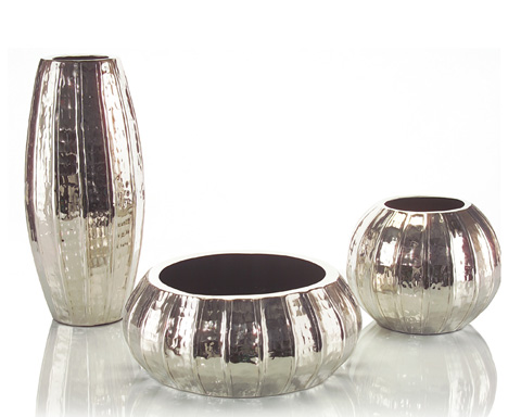 John Richard Collection - Hand Hammered Ribbed Vases - JRA-8826S3