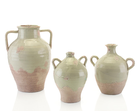 John Richard Collection - Green Ice Hand Thrown Vases - JRA-8849S3
