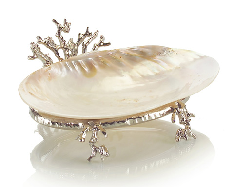 John Richard Collection - Silver Coral Stand with Kabibi Shell - JRA-8862