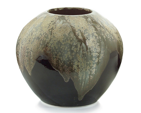 John Richard Collection - Cream and Brown Glazed Jar - JRA-9001
