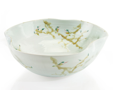John Richard Collection - Curled Rim XL Bowl in Greens - JRA-9023