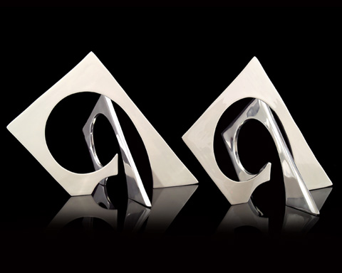 John Richard Collection - Nickel and White Enamel Sculpture - JRA-9324S2