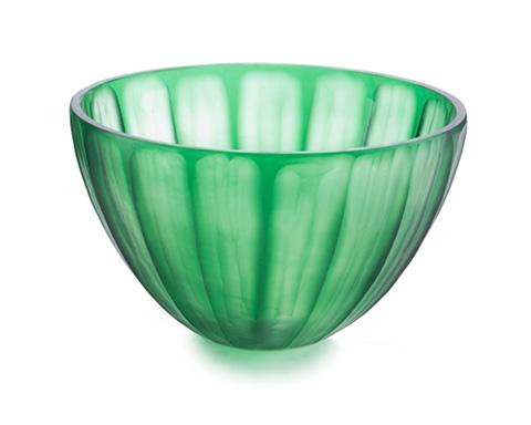 John Richard Collection - Pumpkin Cut Emerald Glass Bowl - JRA-9357