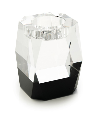 John Richard Collection - Black and Clear Crystal Candle Holder - JRA-9378