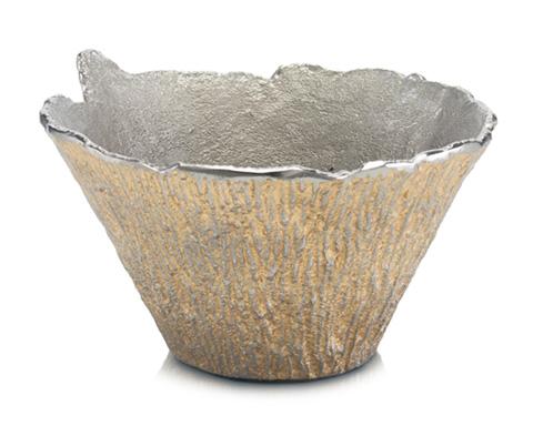 John Richard Collection - Nickel and Gold Bark Textured Bowl - JRA-9396