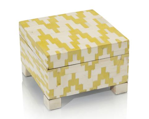 John Richard Collection - Yellow Araldite and Cream Bone Box - JRA-9508