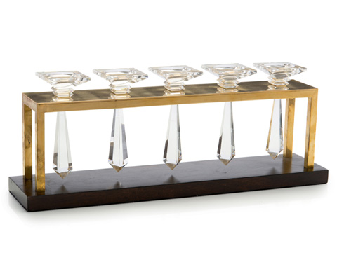 John Richard Collection - Crystal, Brass and Wood Candle Holder - JRA-9536