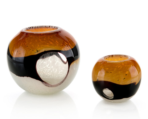 John Richard Collection - Amber, Black and Cream Bowls - JRA-9543S2
