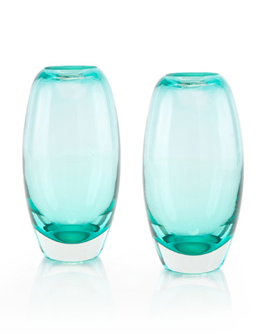 John Richard Collection - Aqua and Clear Glass Vase - JRA-9547S2