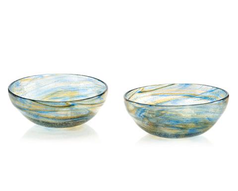 John Richard Collection - Nantucket Blue and Amber Bowl - JRA-9551S2