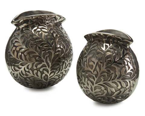 John Richard Collection - Brocade Black and Nickel Vases - JRA-9655S2