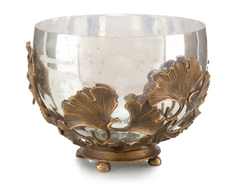 John Richard Collection - Brass and Mercury Glass Bowl - JRA-9675
