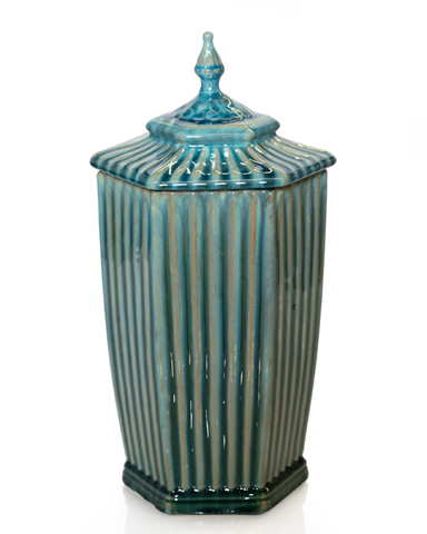 John Richard Collection - Aqua Pentagon Lidded Jar - JRA-9733