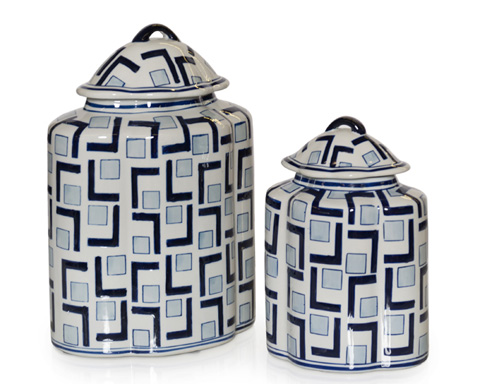 John Richard Collection - L's and Squares Lidded Jars - JRA-9739S2