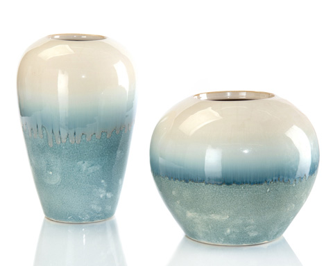 John Richard Collection - Cream Melting Into Blue Vases - JRA-9751S2