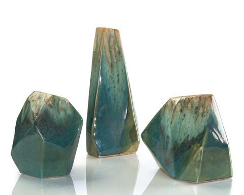 John Richard Collection - Turquoise and Cream Ceramic Rocks - JRA-9753S3