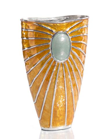 John Richard Collection - Gray Blue and Carmel Enameled Vase - JRA-9814
