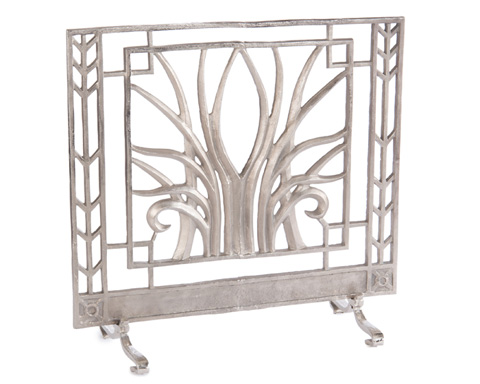 John Richard Collection - Stylized Nickel Fire Screen - JRA-9860