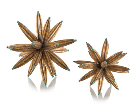 John Richard Collection - Golden Sprites with Aqua Bead - JRA-9872S2