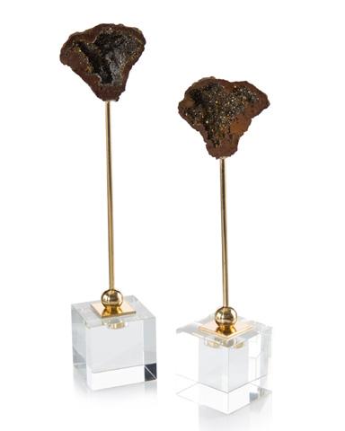 John Richard Collection - Black Geodes on Crystal Cubes - JRA-9885S2