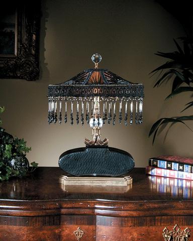 John Richard Collection - Black Chisel Cut Glass Lamp - JRL-6454