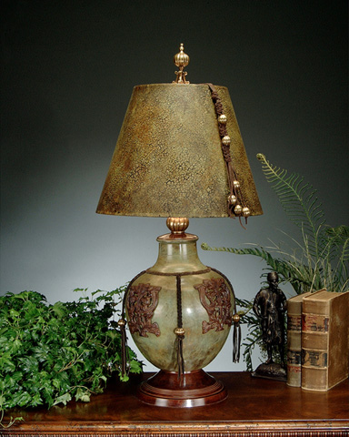John Richard Collection - Green and Brown Metal Urn Lamp - JRL-6561