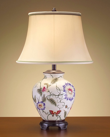 John Richard Collection - Floral Pottery and Wood Lamp - JRL-7398