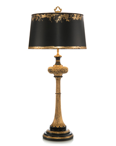 John Richard Collection - Black and Gold Carved Wood Table Lamp - JRL-7577