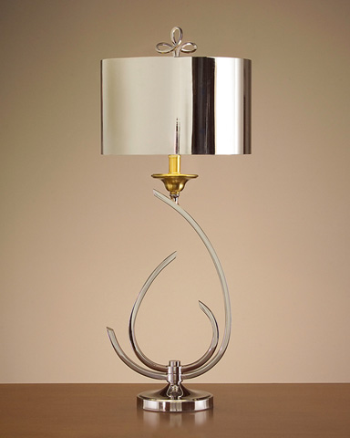 Stylized Chrome and Brass Lamp