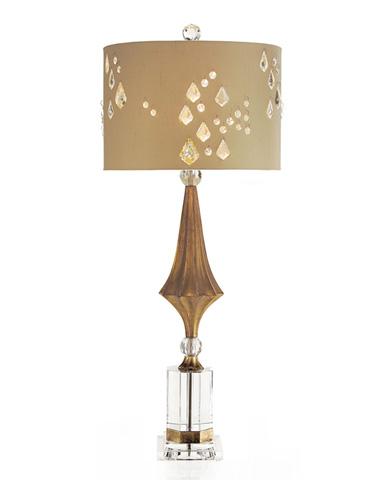 John Richard Collection - Crystal and Gold Decagon Buffet Lamp - JRL-8788