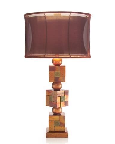 John Richard Collection - Patina Copper Basket Weave Squares Lamp - JRL-8832