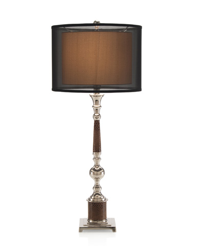 Image of Leather Wrapped Nickel Buffet Lamp