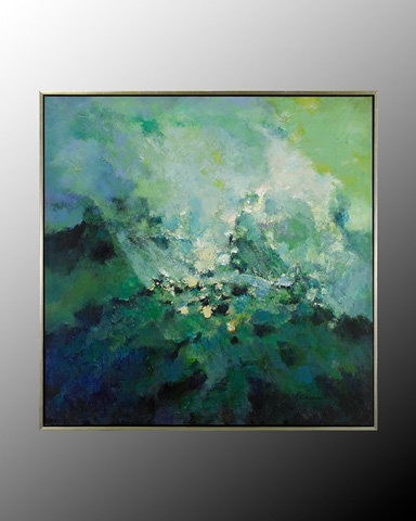 John Richard Collection - Chen Qi Green and Blue Abstract - JRO-2207