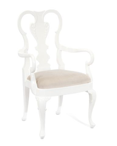 John Richard Collection - Queen Anne White Arm Chair - AMF-1318-AS