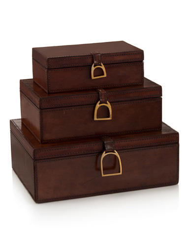 John Richard Collection - Set Of Three Lacquered Hazel Leather Boxes - JRA-10004S3