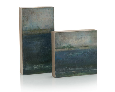 John Richard Collection - Set Of 2 Blue Scape In Oils - JRA-10040S2