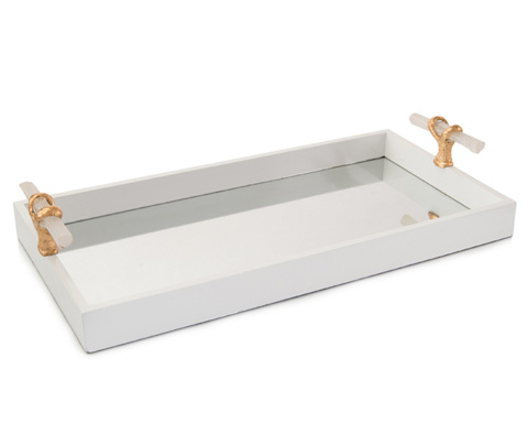 John Richard Collection - White Tray with Selenite Handles - JRA-9902