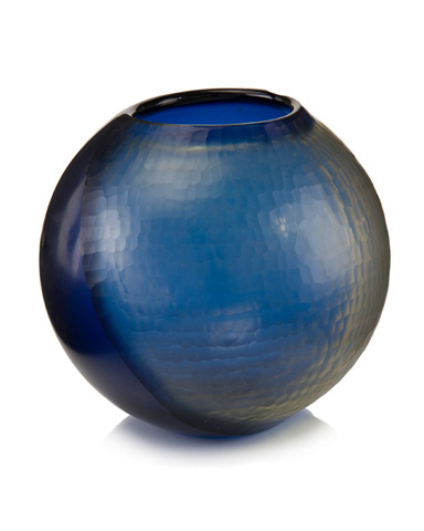 John Richard Collection - Indigo Round Glass Vase - JRA-9918